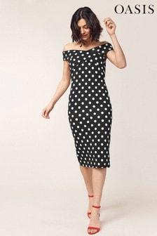 Oasis Black Spot Bardot Tube Dress