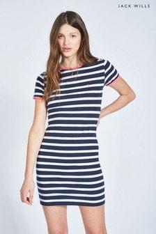 Jack Wills Navy Harlech Stripe Ringer Dress