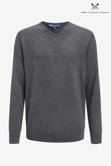 Crew Clothing Company Grey Merino V-Neck Jumper
