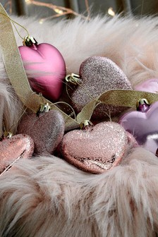 Pack of 9 Heart Baubles