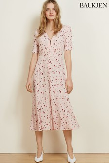 Baukjen Blush Petal Print Adele Button Dress