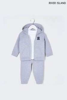 River Island Grey Younger Boys Hoodie, T-Shirt And Joggers 3 Piece Set
