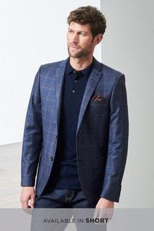 Signature Italian Wool Check Slim Fit Jacket