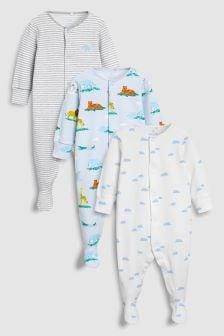 Delicate Safari Animal Sleepsuits Three Pack (0mths-2yrs)