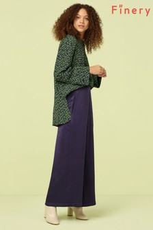 Finery London Blue Navy Ailie Satin Cropped Trouser