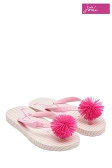 Joules Pink Girls Printed Flip Flop