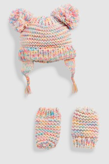 Double Pom Beanie Hat And Mitten Two Piece Set (Younger)