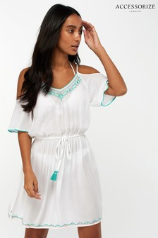 Accessorize White Riviera Trim Cold Shoulder Dress