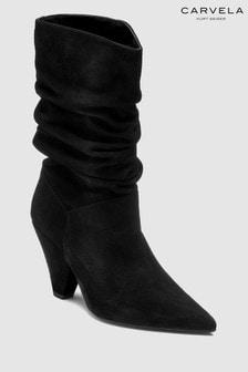 Carvela Black Suede Scrunch Mid Boot