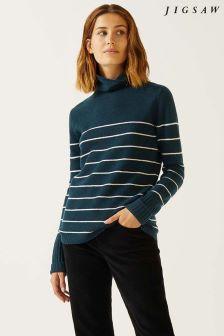 Jigsaw Green Junko Stripe Cashmere Polo