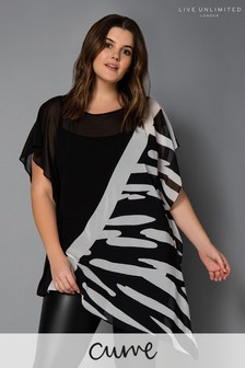 Live Unlimited Animal Mono Print Contrast Top