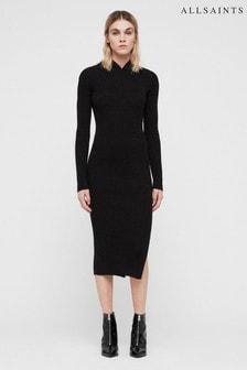 All Saints Black Knitted Vries Midi Dress