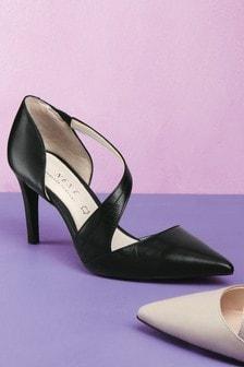 Leather Asymmetric Strap Court Shoes