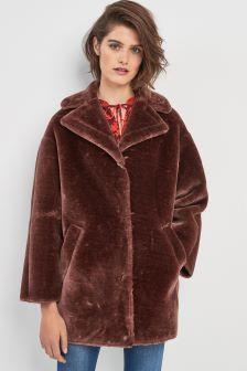 Whistles Chocolate Faux Fur Coat