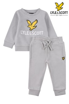 Lyle & Scott Boys Grey Eagle Logo Crew Top And Joggers Set