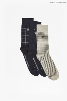 French Connection Blue Waterfall Socks Three Pack