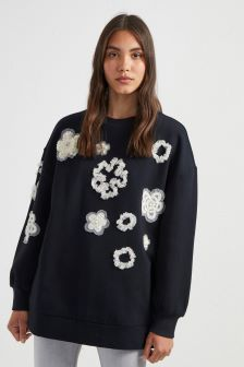 French Connection Black Embellished Sweater