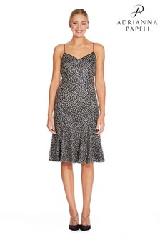 Adrianna Papell Black Embrodiered Sequin Dress