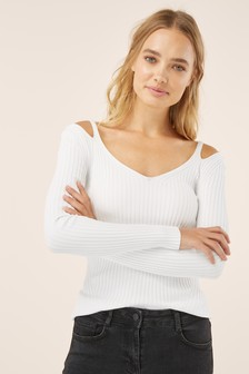 Cut-Out Shoulder Rib Sweater