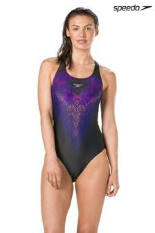 Speedo® Black Mirror Glare Powerback Swimsuit