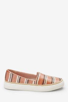 Weave Effect Slip-On Trainers