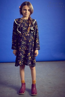 Outside The Line Black Frilled Printed Dress