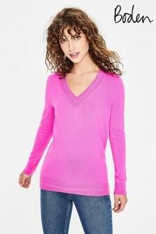 Boden Pink Cashmere Relaxed V-Neck Jumper