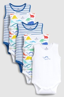Dinosaur Print Vests Five Pack (0mths-2yrs)