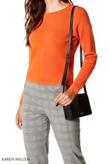 Karen Millen Orange Colourpop Zip Back Jumper