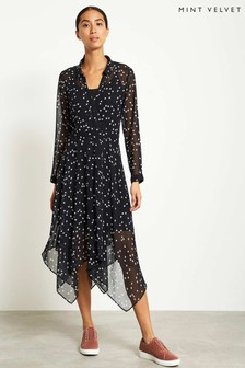 Mint Velvet Black Star Print Trapeze Dress