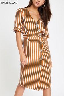 River Island Petite Orange Stripe Button Midi Dress