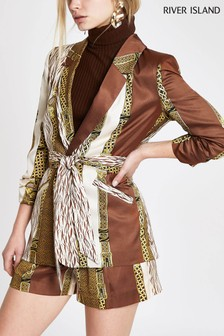 River Island Brown Mixed Print Blazer