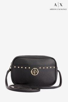 Armani Exchange Black And Gold Stud Cross Body Bag