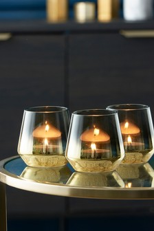 Set of 3 Gold Tone Glass Tea Light Holders