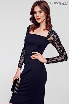 HotSquash Black Lace Sleeve Hostess Dress