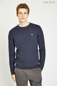 Jack Wills Navy Marlow Cable Crew