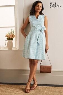 Boden Blue Mischa Belted Dress