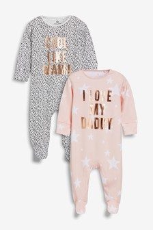 Slogan Sleepsuits Two Pack (0mths-2yrs)