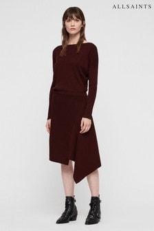 All Saints Burgundy Knitted Suke Midi Dress