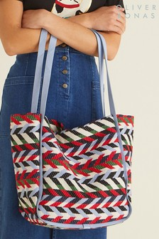 Oliver Bonas Blue Sofia Chevron Bag