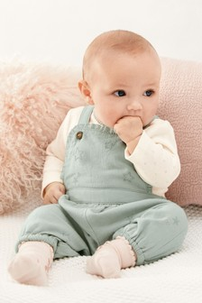 Embroidered Dungaree Set (0mths-2yrs)