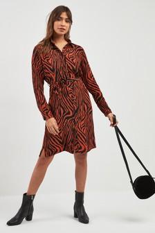 Zebra Animal Print Shirt Dress