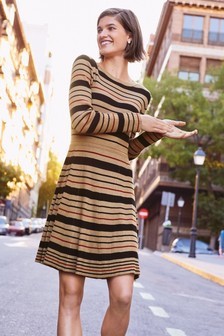 Stripe Fit And Flare Dress
