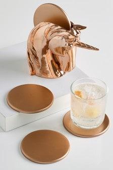 Set of 4 Rose Gold Unicorn Coasters