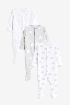 GOTS Certified Organic Cotton Sleepsuits Three Pack (0-12mths)
