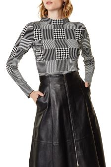 Karen Millen Black Mixed Check Knit Jumper