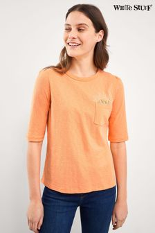 White Stuff Orange Petunia Pocket T-Shirt