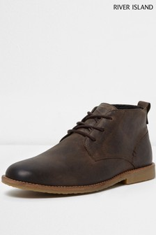River Island Brown Leather Chukka Boot