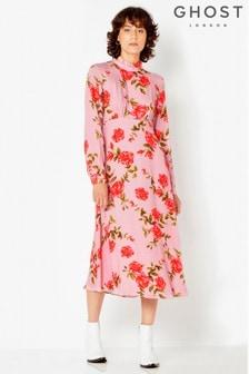 Ghost London Pink Floral Kerri High Neck Dress