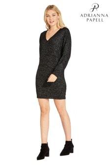 Adrianna Papell Black Knit Dolman Sleeve Sheath Dress